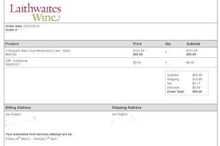 Laithwaites Wine Club Print Summary Page