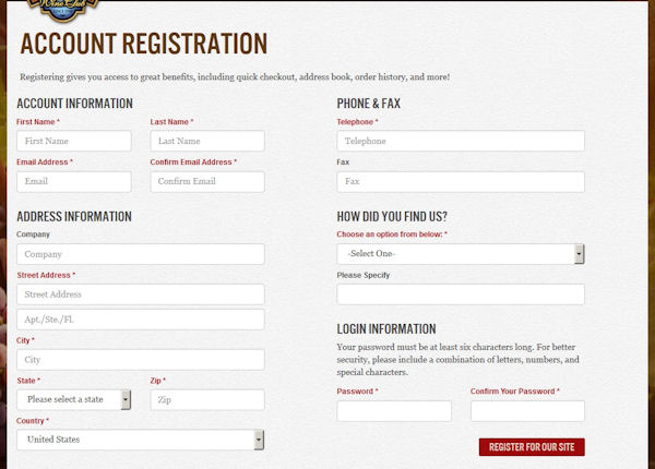 The California Wine Club Account Registration