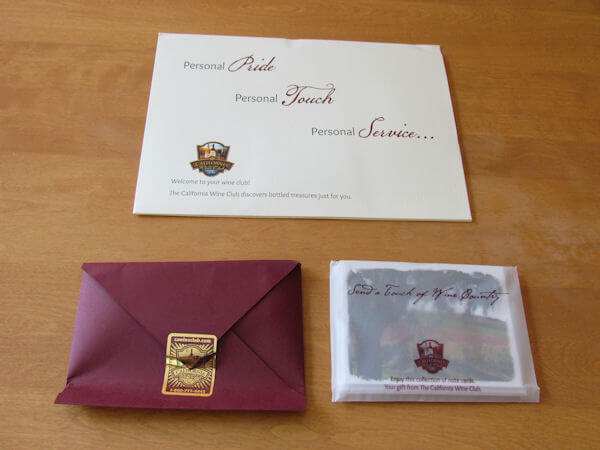 California Wine Club Envelopes