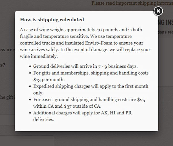 The California Wine Club Important Shipping Info