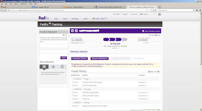 FedEx Tracking Page