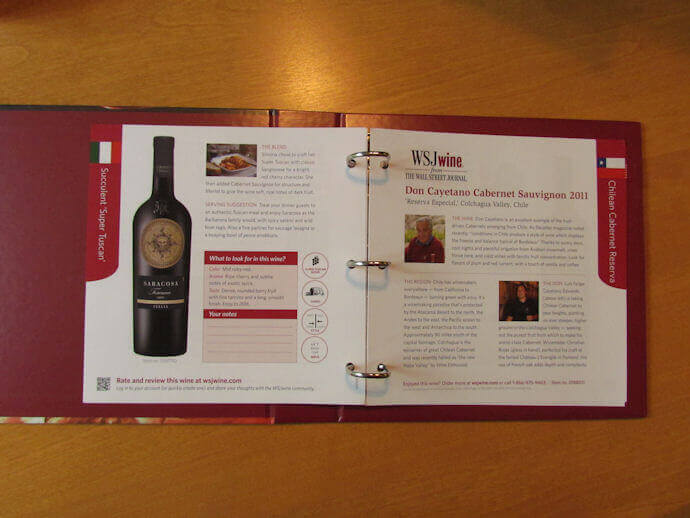 wsj wine club review tasting notes binder