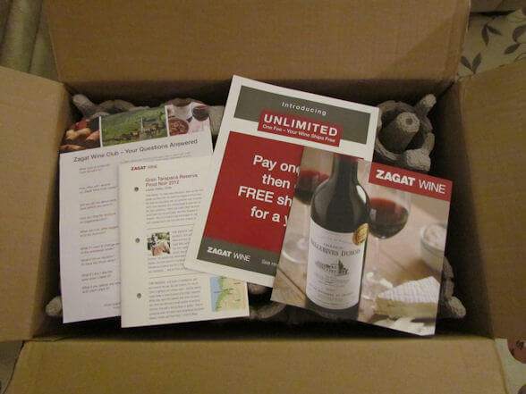 zagat wine club review inside box