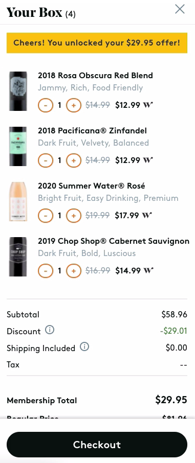 Winc Wine Club Checkout